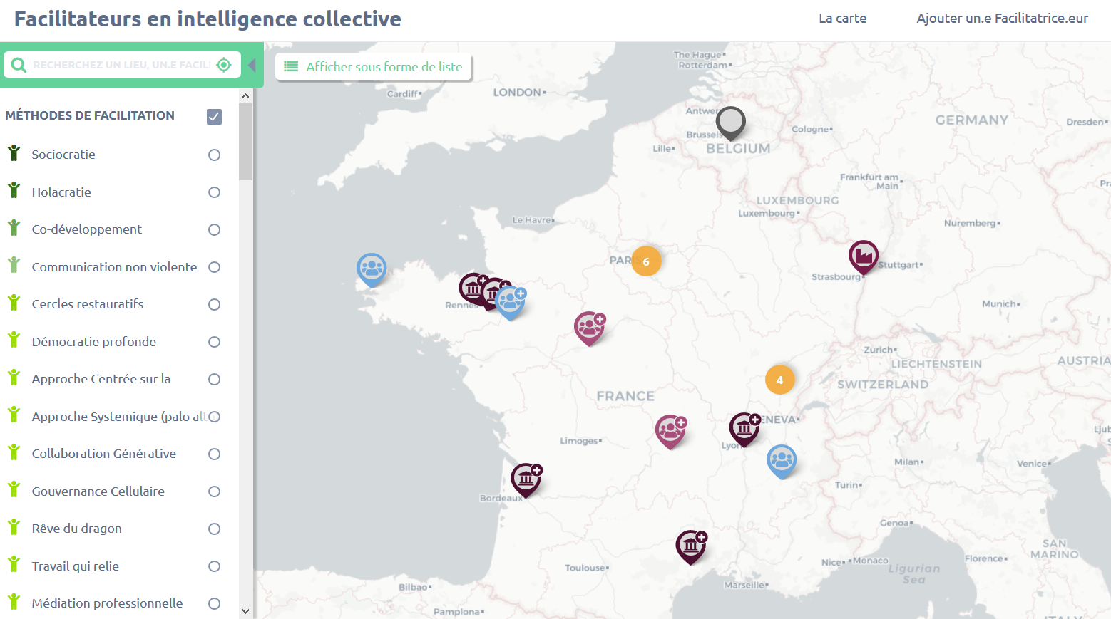 Carte des facilitateurs